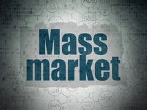 Marketing concept: Mass Market on Digital Data Paper background. Marketing concept: Painted blue text Mass Market on Digital Data Paper background with Scheme Of stock illustration