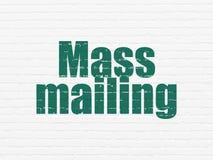 Marketing concept: Mass Mailing on wall background. Marketing concept: Painted green text Mass Mailing on White Brick wall background royalty free illustration