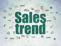 Marketing concept: Sales Trend on Digital Data Paper background Stock Images