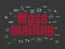 Marketing concept: Mass Mailing on wall background. Marketing concept: Painted red text Mass Mailing on Black Brick wall background with Hand Drawn Marketing stock illustration