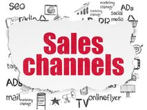 Marketing concept: Sales Channels on Torn Paper background Stock Images