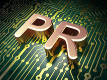 Marketing Concept: PR On Circuit Board Background Stock Images