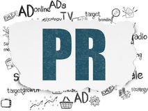 Marketing concept: PR on Torn Paper background Stock Images