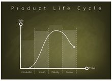 Marketing Concept of Product Life Cycle Chart on Chalkboard Stock Photo
