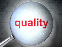 Marketing concept: Quality with optical glass Royalty Free Stock Photography