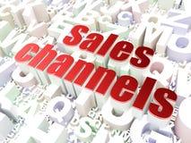 Marketing concept: Sales Channels on alphabet background. 3d render stock image