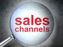Marketing concept: Sales Channels with optical glass Stock Photo