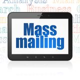 Marketing concept: Tablet Computer with Mass Mailing on display. Marketing concept: Tablet Computer with blue text Mass Mailing on display, Tag Cloud background vector illustration