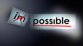 Marketing Concept Team. An image for the team marketing concept of anything is possible and nothing is impossible. A broken or torn piece of card has the letters royalty free illustration