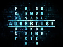 Marketing concept: word Advertise in solving. Marketing concept: Pixelated blue word Advertise in solving Crossword Puzzle on Digital background, 3d render Stock Photography