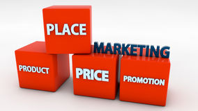 Marketing concepts and cubes Royalty Free Stock Photo