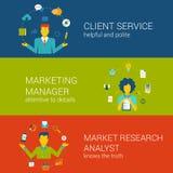 Marketing CRM concept flat web template set vector infographics. Marketing CRM concept flat web banners template set client service advertisement manager market Stock Illustration