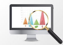 Marketing data analytics, analyzing statistics chart. Magnifier. Vector vector illustration