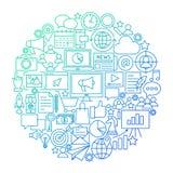 Marketing de Cirkelontwerp van het Lijnpictogram stock illustratie