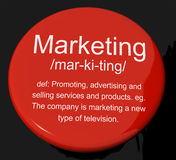 Marketing Definition Button Showing Promotion Sales And Advertis. Marketing Definition Button Shows Promotion Sales And Advertising Royalty Free Stock Photos
