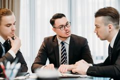 Marketing meeting business corporate men discuss Royalty Free Stock Image
