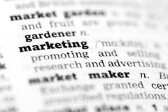 Marketing-Dictionary definition. Marketing Dictionary definition single word with soft focus Stock Photos