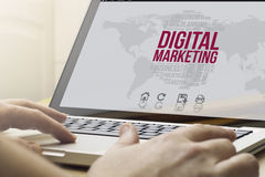 Marketing digital application. Marketing digital concept: man using a laptop with computer generated digital marketing interface on the screen stock images