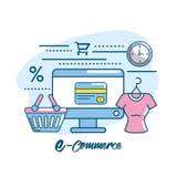 Marketing digital to shopping online network. Vector illustration Stock Photo