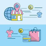 Marketing digital to shopping online network. Vector illustration Royalty Free Stock Photos