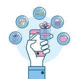 Marketing digital to shopping online network. Vector illustration Stock Images