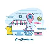 Marketing digital to shopping online network. Vector illustration Royalty Free Stock Photography