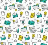 Marketing elements seamless icons pattern Stock Image