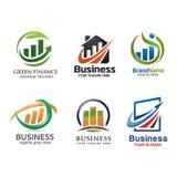 Marketing en financiën embleem vastgestelde vector royalty-vrije illustratie
