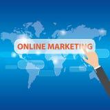 Marketing en ligne émouvant de main d'homme d'affaires, vecteur Photographie stock