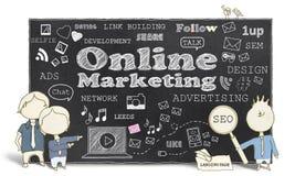 Marketing en ligne avec des hommes d'affaires Images libres de droits
