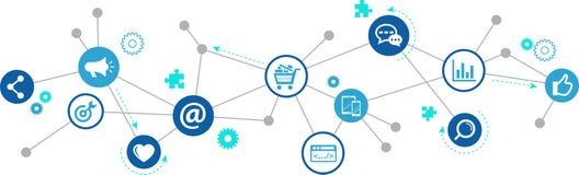 Marketing en ligne/commercialisation sociale de media/SEO - illustration illustration stock