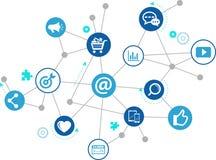 Marketing en ligne/commercialisation sociale de media/SEO - illustration illustration de vecteur