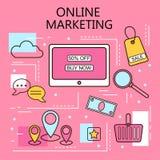 Marketing en ligne Internet et concept mobile de vente Pour des services de Web et de téléphone portable et des apps Illustration Images stock