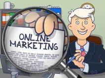 Marketing en ligne par la loupe Concept de griffonnage illustration libre de droits