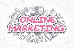 Marketing en ligne - texte de magenta de griffonnage Concept d'affaires illustration libre de droits