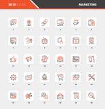 Marketing en Reclame de Vlakke Pictogrammen van het Lijnweb vector illustratie