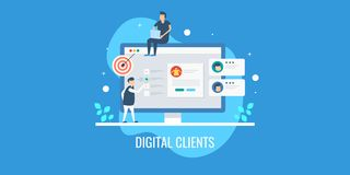 Digital marketing team analyzing customer profile, tracking customer behavior, targeting new prospect of clients. Flat banner. Marketing experts targeting new royalty free illustration