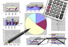 Marketing & financial analysis with graphic chart. For business planning Royalty Free Stock Photography