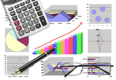 Marketing & financial statistic with graphic chart. For business planning Royalty Free Stock Photos