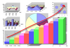Marketing & financial statistic with graphic chart on white Royalty Free Stock Images
