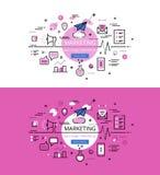 marketing Flache Linie Farbheldbilder und Heldfahnen entwerfen c Lizenzfreie Stockfotografie