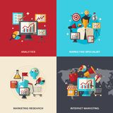 Marketing Flat Icons Stock Photography