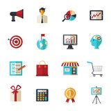 Marketing Flat Icons Set. Marketing strategy business support and creative flat icons set isolated vector illustration Stock Images