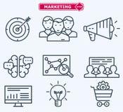 Marketing flat  line icons. Training, development Stock Photo