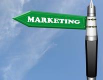 Marketing fountain pen road sign Stock Photo