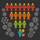 Marketing Funnel Sales. Diagram with People and Cogs. Vector on black background. Conversion Funnel Sale Chart. Concept of Funnel and Sales royalty free illustration