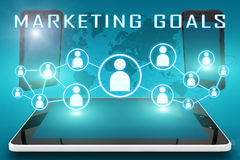 Marketing Goals. Text illustration with social icons and tablet computer and mobile cellphones on cyan digital world map background Royalty Free Stock Photography