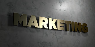 Marketing - Gold sign mounted on glossy marble wall  - 3D rendered royalty free stock illustration Stock Image
