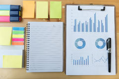 marketing graph and chart report with  highlighter, notebook, st Royalty Free Stock Photography