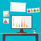 Marketing graph data on computer desktop. Design flat style, Vector illustration. EPS 10 Royalty Free Stock Photos
